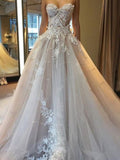 Elegant Sweetheart With Appliques Long A-Line Tulle Wedding Dresses, VB03797