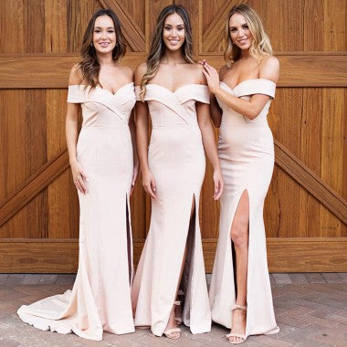 2018 Charming V-Neck V-Back Pleating A-Line Floor Length Bridesmaid Dress, Bridesmaid Dresses, VB0355