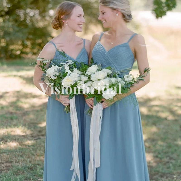 Alluring Dusty Blue Spaghetti Straps Top Pleated A-Line Bridesmaid Dresses, VB03695