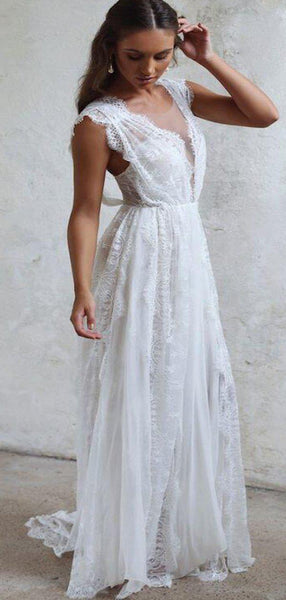 2019 Cheap V-Neck Cap Sleeve Long Wedding Dresses With Lace, Wedding Dresses, VB02456