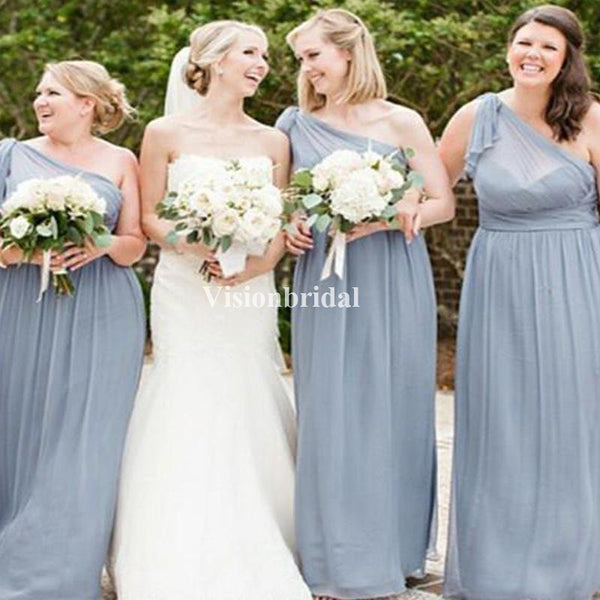 Charming Dusty Blue One Shoulder Long A-Line Chiffon Bridesmaid Dresses, VB02762