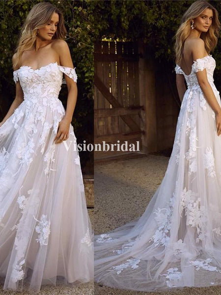 Alluring Off Shoulder Lace Up Wedding Dresses With Trailing, VB02945
