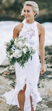 Charming Halter Open Back Long Mermaid Side Slit Wedding Dresses, Lace Wedding Dresses, VB02457