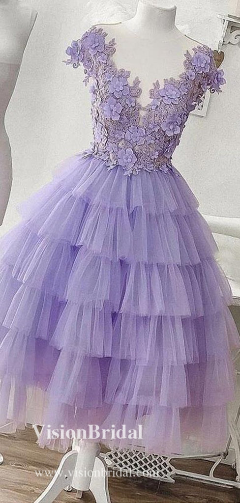 Eye-Catching Lavender V-Neck Top Appliques Layered Tulle Homecoming Dresses, Cupcake Homecoming Dresses, VB02554