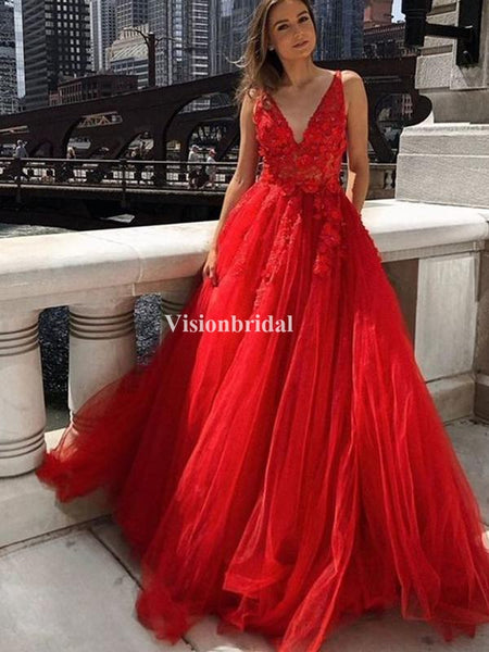 Newest Red V-Neck With Lace A-Line Tulle Prom Dresses, VB03676