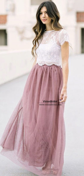 Alluring Lace Top A-Line Tulle Bridesmaid Dresses, Wedding Party Dresses, VB03820