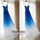 Royal Blue Ombre Spaghetti Strap Long Prom Dress,Charming Prom Dress, Prom Dresses, VB0345 - Visionbridal