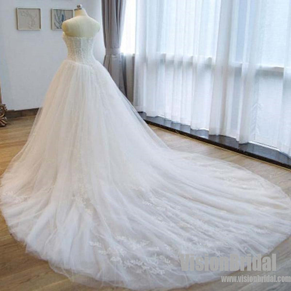 Charming Strapless Appliques A Line Chapel Train Wedding Dress With Beaded, Wedding Dress, VB0702