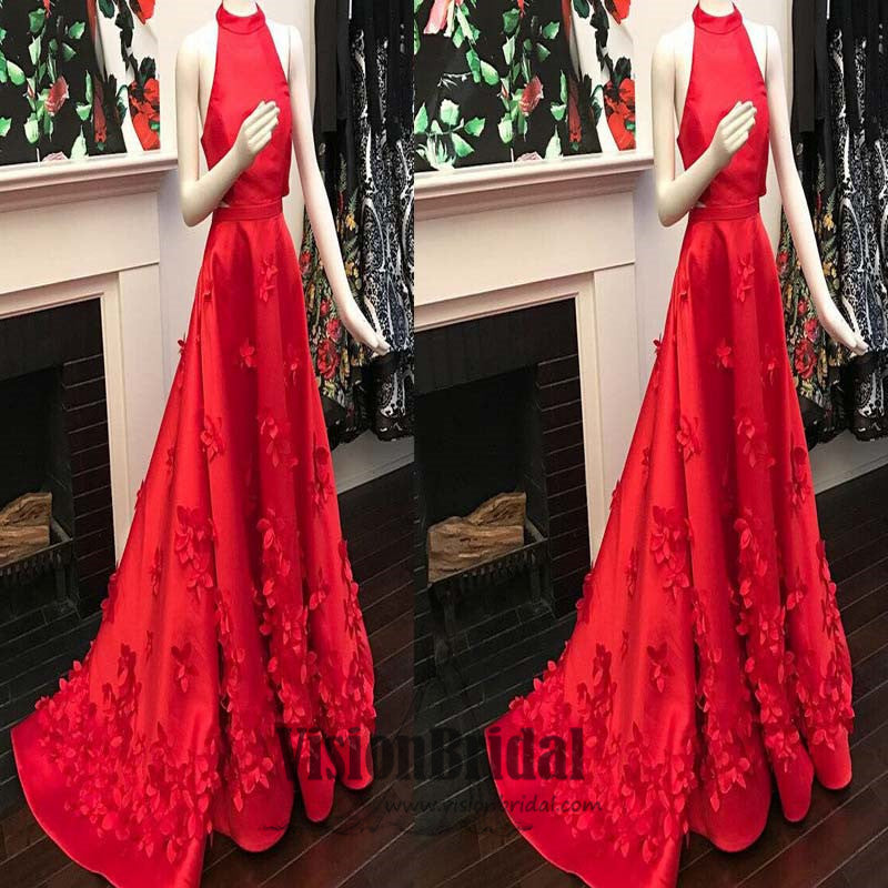 Red Halter Open Back Sleeveless Flower Applique Satin A-Line Long Prom Dress, Stunning Prom Dress, Prom Dresses, VB0370 - Visionbridal