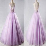 2018 Beautiful Lavender Flower Appliques Deep V-Neck Open Back Ball Gown, Charming Long prom Dress, VB0398 - Visionbridal