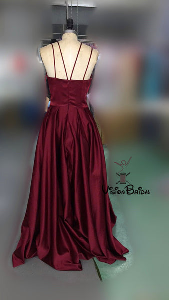 Sexy Burgundy Long A-Line Satin Side-Slit Prom Dresses, Prom Dresses, VB01574