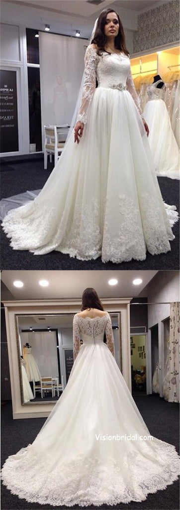 Romantic New Style Long Sleeves Covered Buttons Lace Wedding Dresses With Trailing, Gorgeous Off Shoulder Ball Gown Bridal Gown, VB01060