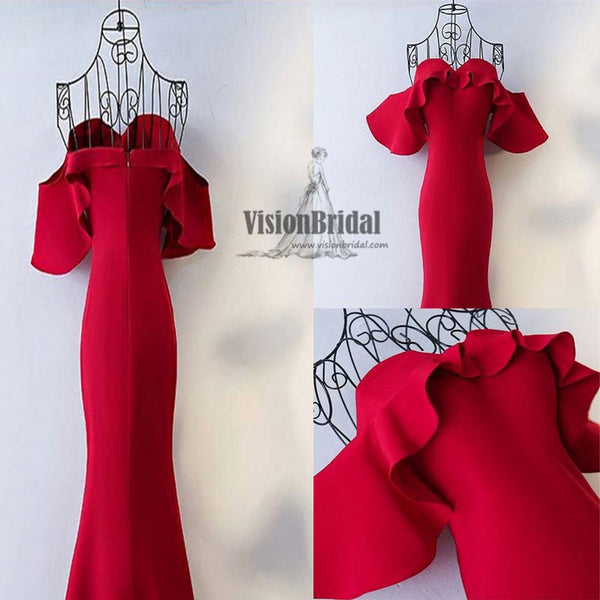 Red Sweetheart Mermaid Zipper Up Prom Dress With Ruffles, Stunning Prom Dress, VB0486 - Visionbridal