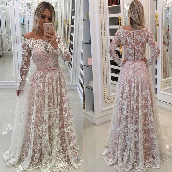 Charming Ivory Illusion Long Sleeve Lace Long A-Line Prom Dresses, Prom Dresses, VB01560