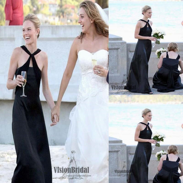Classy Black Halter Open Back A-Line Floor Length Chiffon Bridesmaid Dress, Bridesmaid Dress, VB0520 - Visionbridal