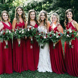 Rose Red Mismatched Beautiful V-Neck Bridesmaid Dress, Bridesmaid Dresses, VB0414 - Visionbridal