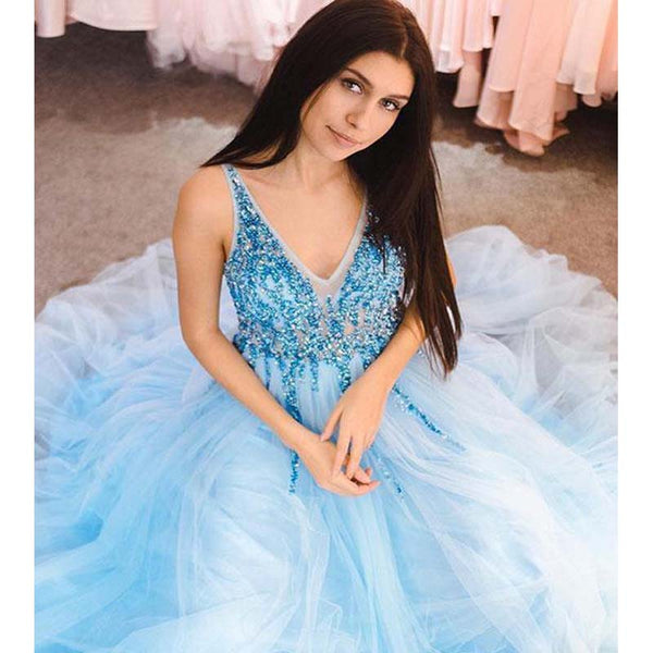 Alluring Blue V-Neck Top Beaded Long A-Line Tulle Prom Dresses, Prom Dresses, VB01760