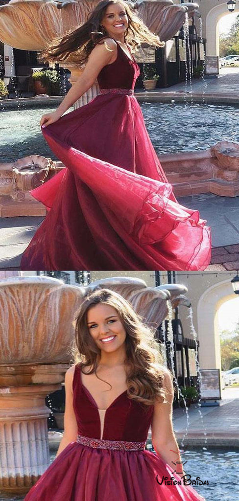 Charming Burgundy V-Neck Top Velvet Long A-Line Organza Prom Dresses With Beaded Band, Prom Dresses, VB01679