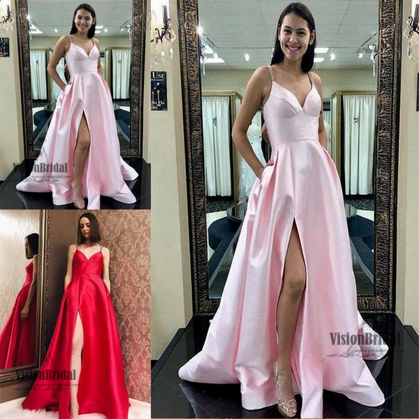 Sexy Spaghetti Straps Side Slit A-Line Long Satin Prom Dress, Prom Dress, Party Dress, VB0563