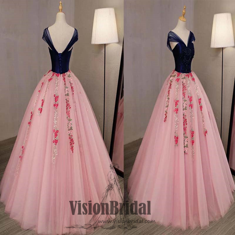 Cap Sleeves Top Satin With Beaded Flower Embroidery Tulle Ball Gown ...