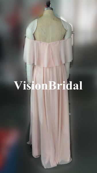 Pretty Young Junior Mint Mismatched Different Styles Side Split Chiffon Cheap Long Bridesmaid Dresses, VB0308