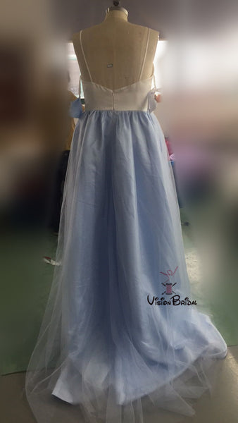 Light Blue Spaghetti Straps White Top Prom Dress With Appliques, Open Back Floor Length Prom Dress, Prom Dresses, VB0265