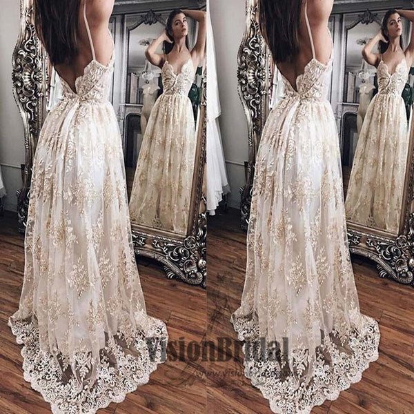 2018 Spaghetti Straps Open Back A-Line Floor Length Lace Embroidery Prom Dress, Prom Dresses, VB0406 - Visionbridal