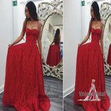Charming Red Spaghetti Straps Open Back Sweetheart Lace Long Prom Dress, Party Dress, Prom Dress, VB0558 - Visionbridal