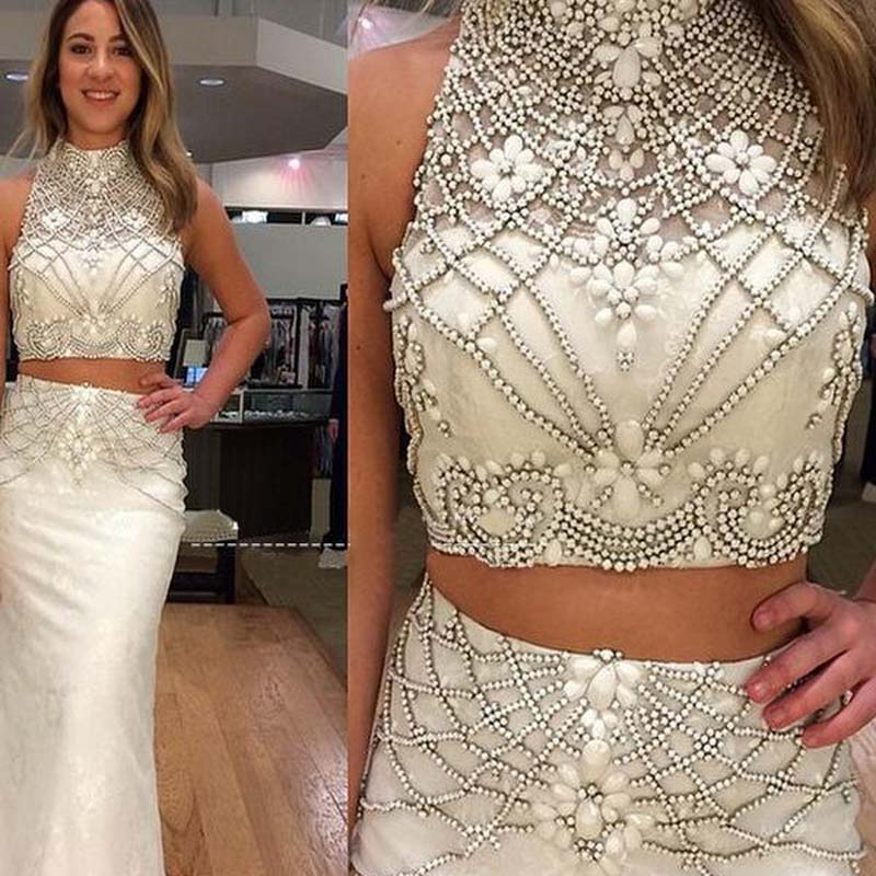 Sparkly High Neck Two Pieces With Rhinestones Mermaid Prom Dresses, Prom Dresses, VB01691