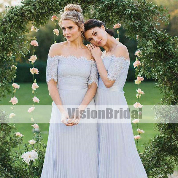 97f85069b1a Off-the-Shoulder Top Lace Light Blue Pleated Chiffon Bridesmaid Dresses