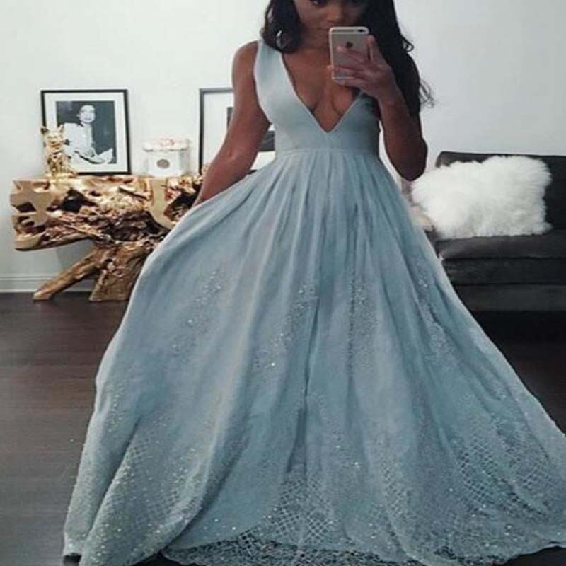 Cheap V-Neck See Through Back Sleeveless Prom Dresses With Lace And Beaded, Charming Long A-Line Prom Dresses, VB01149