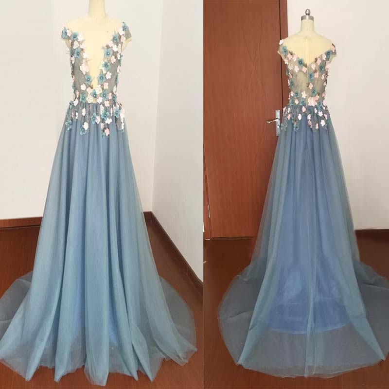Cap Sleeves Deep V-Neck Flower Applique Chiffon Floor Length Prom Dress, Charming Prom Dress, Prom Dresses, VB0287 - Visionbridal