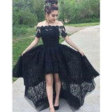 Elegant Black Off Shoulder Short Sleeves Lace High-low Prom Dresses, Prom Dresses, VB01558