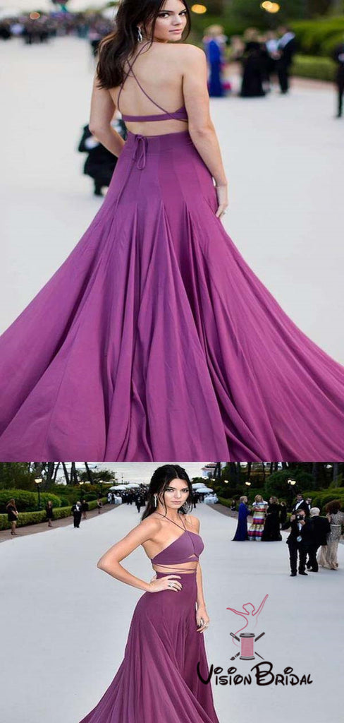 Purple Halter Two Piece Long A-Line Prom Dresses, Prom Dresses, VB01426