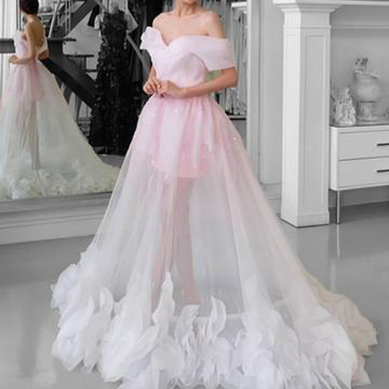 Charming  Off The Shoulder Long A-Line Tulle With Appliques, Prom Dresses With Pink Lining, VB01594