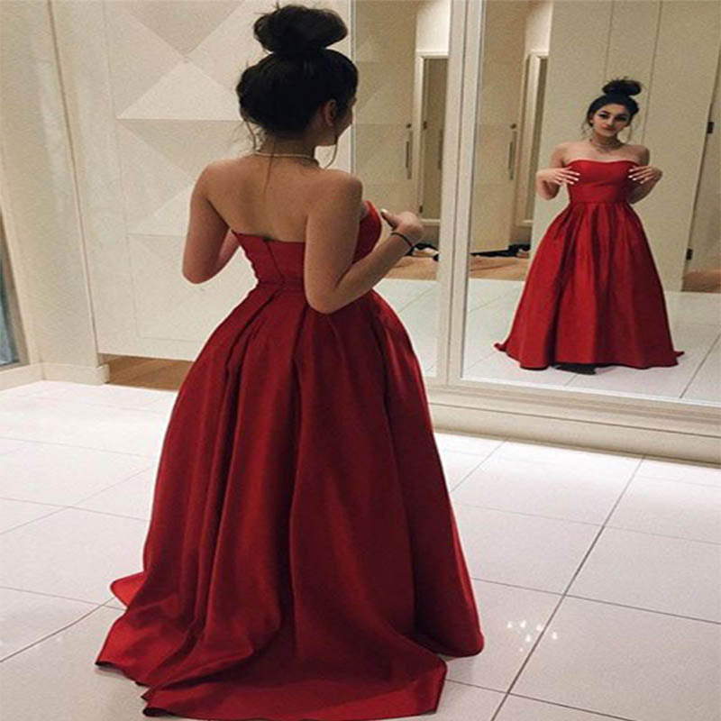 Sweetheart Red Prom Dress, Open Back Prom Dress, Satin Prom Dress, Elegant Prom Dress, VB059 - Visionbridal