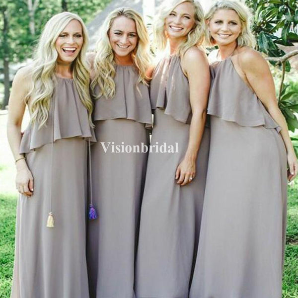 Simple Halter Open Back Long Column Chiffon Bridesmaid Dresses, VB02836