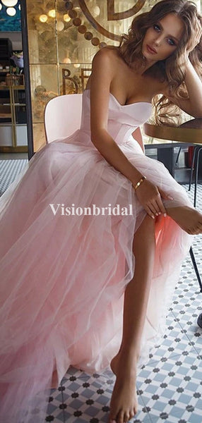 Charming Pink Sweetheart A-Line Tulle Prom Dresses, Evening Dresses, VB03667