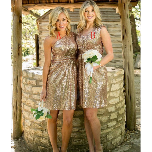 Shiny Mismatched Sequin Short Bridesmaid Dresses, Bridesmaid Dresses, VB02214