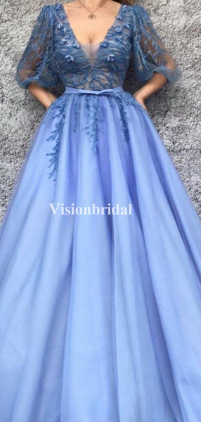 Elegant Blue V-Neck Half Sleeves A-Line Tulle Prom Dresses With Lace, VB03686