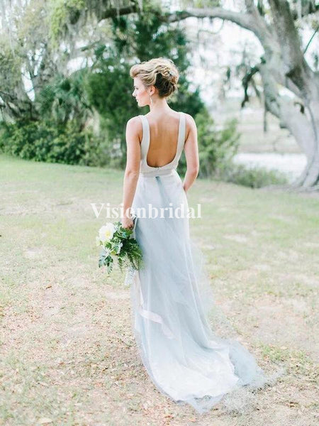 Alluring Beading Straps Open Back Bridesmaid Dresses, VB02808