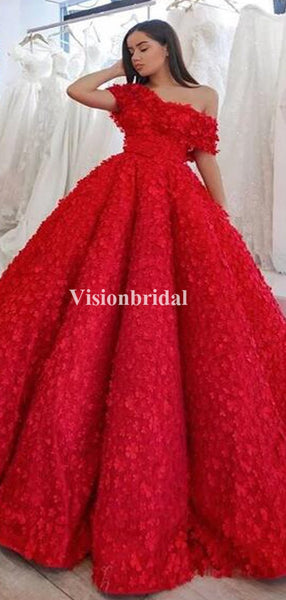 Gorgeous Red One Shoulder Ball Gown Prom Dresses With Appliques, VB03301