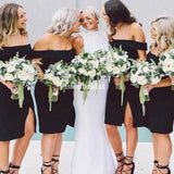 Sexy Black Off Shoulder Mermaid Side Slit Bridesmaid Dresses, VB02907