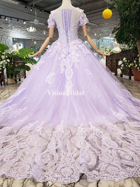 Gorgeous Light Purple V-Neck Short Sleeve Ball Gown Prom Dresses With Appliques, VB03506