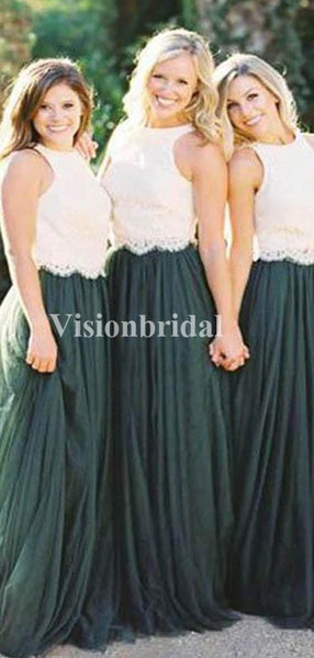 Popular Lace Top Sleeveless Green Tulle Bridesmaid Dresses, VB03764