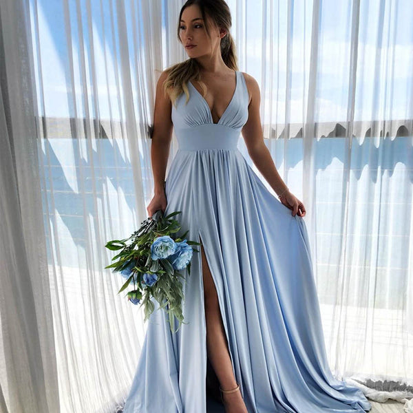 Hot Sale Blue V-Neck Long A-Line Side Slit Bridesmaid Dresses, Bridesmaid Dresses, VB02322