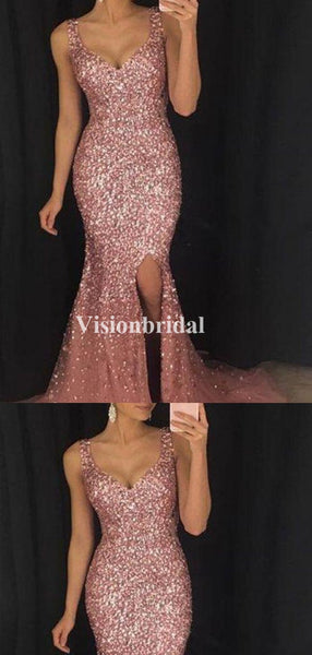 Charming Rose Gold Beading Straps Mermaid Side Slit Prom Dresses, VB03370