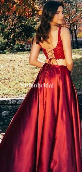 Burgundy Sexy Two Pieces Lace Top Side Slit Prom Dresses, VB03235