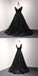 Charming Black V-Neck Lace Up Sequined Tulle With Lace Prom Dresses, Long A-Line Prom Dresses, VB01274