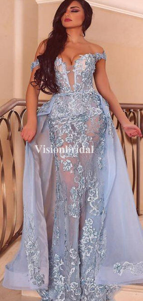 Eye-Catching Blue Off Shoulder Mermaid Prom Dresses With Appliques, VB03418